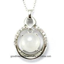 Alta Qualidade e Nova Moda Pura 925 Sterling Silver Pingente De Pedra Redonda Atacado P4993