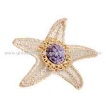 Starfish Beach Brooches, Wholesale, Made of Lace, Alloy Accessories and Resin Flower