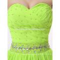 2017 nouvelle mode simple conception courte robe de soirée de couleur verte avec ceinture de cristal