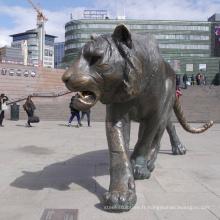 Grande statue de tigre en bronze grandeur nature de Bengale