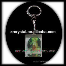 Keychain en cristal de LED avec l'image gravée par laser 3D à l'intérieur et le keychain en cristal blanc G037
