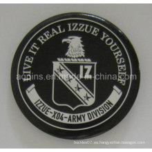 Insignia del botón del estaño del ejército del precio de fábrica con el logotipo de la impresión (botón badge-44)