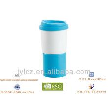 Tapa de 14oz de silicona y taza de café blanca base