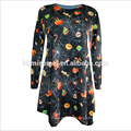 European Ladies O Neck Printed Long Sleeve Above Knee Women Frock Dress For Christmas