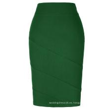 Kate Kasin Occident Mujer falda OL falda de lápiz de color verde oscuro KK000269-5