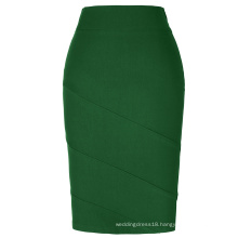 Kate Kasin Occident Women OL skirt High Stretchy Hips-Wrapped Dark Green Pencil Skirt KK000269-5