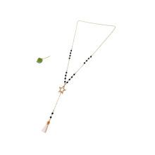 Cadena de collar de estrella de piedra de ágata negra larga dorada de moda con colgante borla blanca
