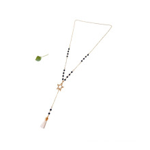 Fashion Golden Long Black Agate Stone Star Necklace Chain With White Tassel Pendant
