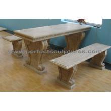 Banco de mesa de jardim de mármore de pedra para decoração de jardim antigo (QTS014)