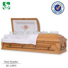 Modelo de caixão esculpida de madeira americana moderna do nascer do sol