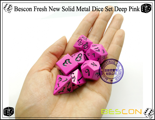 Bescon Fresh New Solid Metal Dice Set Deep Pink-7