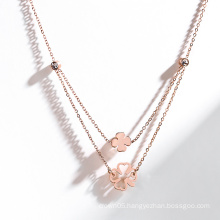 Four leaf clover necklace Fashion double layers necklace for Women