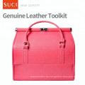 SUCI Custom Großhandel rot rosa leer Make-up Fall Leder Kosmetik Make-up Tasche