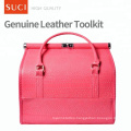 SUCI Custom Wholesale Red Pink Blank Make Up Case Leather Cosmetic Makeup Bag