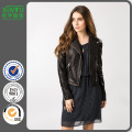 2016 Ladies Winter Custom Black Leather Jacket Prix