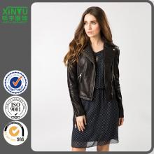 2016 invierno de las señoras de encargo negro chaqueta de cuero Precio