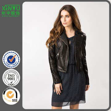 2016 Ladies Winter Custom Black Leather Jacket Prix
