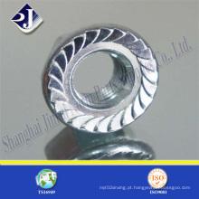 Porca de flange hexagonal com revestimento de zinco