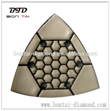 6 holes triangle dry polishing pad for marble and granite
