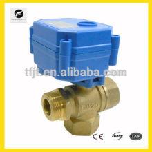 "DC12V 3/4"" 3-way T-flow Brass Male-Female-Female mini Electric ball motor"