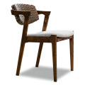 Outdoor Wood Solid Rattan Patio Dining Chair