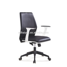 2017 Foshan Haiyue Black Genuine Leahter Painting Wooden Swivel Office Executitive Chair HY5201