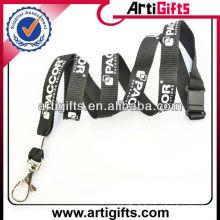 Lanyard noir logo blanc polyester bracelet sangle porte-clés