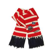 Écharpe en maille à rayures double couche, écharpe d'hiver