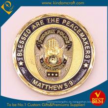 Moneda de metal chapado en oro para souvenir y militar y policía