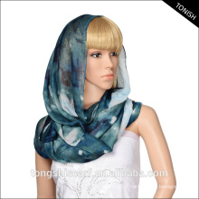 100%polyester voile infinity scarf custom print for women oem and odm service