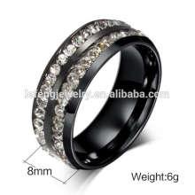 2015 anneaux de titane de cristal de mode pour les hommes avec la double ligne, modèles de bijoux pour les anneaux des femmes