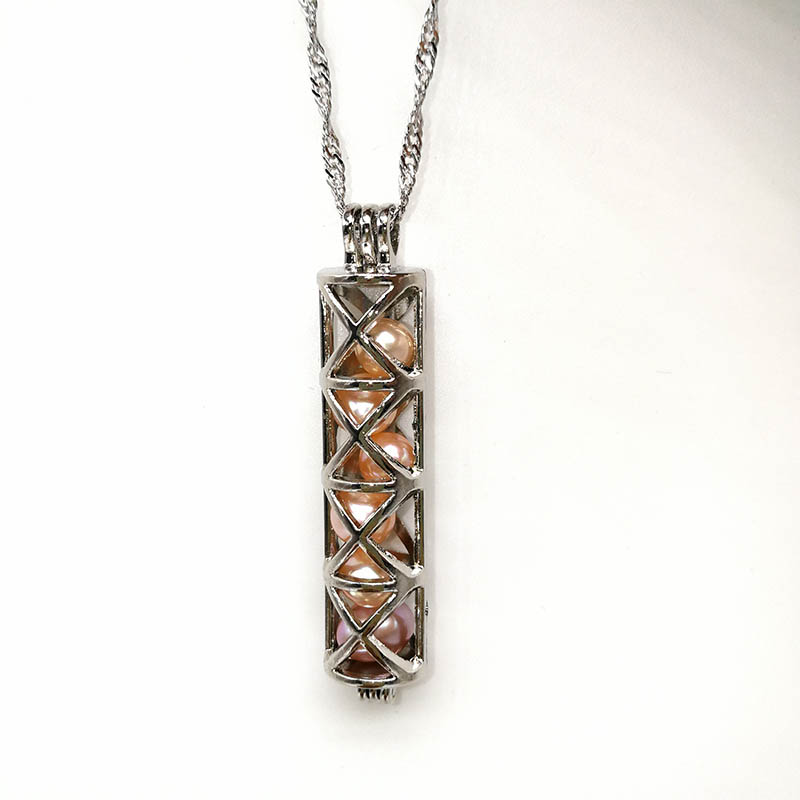 Funnel Cross Rectangle Locket Necklace