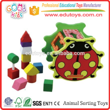 FSC Wood 5 Shape Blocks Toddler Action Animal Triing Toys