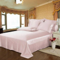 4PCS Silk Bedding Set Flat Fitted Sheet 2Pillowcases