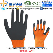 13G Polyester Shell Schaum Latex beschichtete Handschuhe (L2601) mit CE, En388, En420, Arbeitshandschuhe