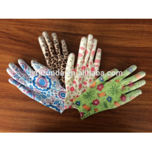 13 gauge colorful nylon knitted working gloves coated with PU on palm