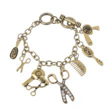 Fashion Scissors Hair Dryer Comb Mirror Retro Bracelet Chain Pendant Bracelet
