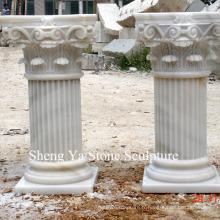 Pilier de colonne de sculpture en pierre de marbre blanc (SY-C002)