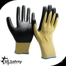 SRSAFETY 13G knitted polyester U3 coated black nitrile gloves/colored nitrile gloves/nitrile work gloves