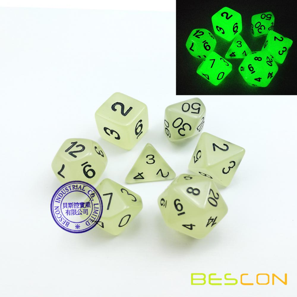 Aqua Color- Set of 7 Glow in the Dark Polyhedral Dice (7 Die in Pack)- Role Playing Game Dice- D4, D6, D8, D10, D%, D12, and D20