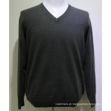 Camisola de caxemira de homens de camisola de manga larga de alta qualidade, camisola de cashmere homens