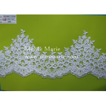 White Embroidery Lace Fabric Thick Appliqued Lace Fabric with Flower CTCB396