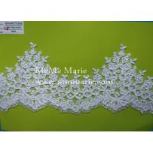 Tecido de renda de bordado branco Tecido de rendas mate Appliqued com flor CTCB396