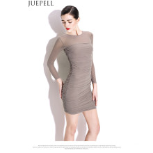New Women Sexy Package Hip Thin Dresses Tight Folds Gauze Skirt Waist Knit Long-Sleeved Dress Guangzhou Factory OEM
