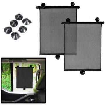 Protetor solar para janela do carro - Cortinas de rolo para carro Protetor solar retrátil - Cortina para janela lateral e traseira do bebê Universal 2 Pack Auto protetor solar protege os raios ultravioleta