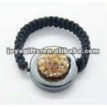 woven crystal ball shamballa ring