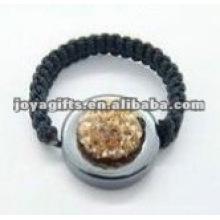 Anel de shamballa de bola de cristal tecido