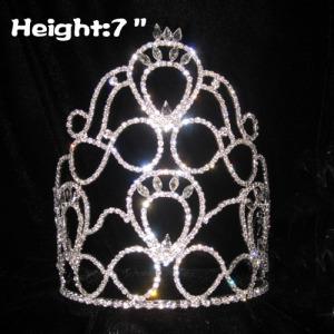 Venta al por mayor Crystal Pageant Queen Crowns con banda ajustable