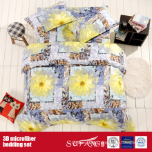 Printed Microfiber Big Flower Bed Linen 3D