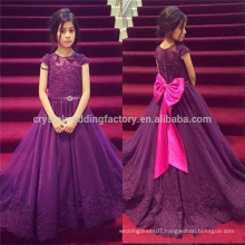 Long Train Wedding Party Formal Puffy Ball Gown Flower Girl Dress Baby Purple Pageant Dresses MF899